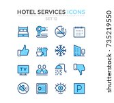 hotel services icons. vector... | Shutterstock .eps vector #735219550