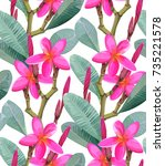 tropical vector pattern with a... | Shutterstock .eps vector #735221578