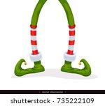 legs christmas elf in green... | Shutterstock .eps vector #735222109