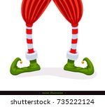 legs christmas elf in green... | Shutterstock .eps vector #735222124