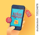cyber monday banner. hand with... | Shutterstock .eps vector #735224878