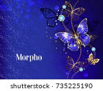 dark  blue velvety background ... | Shutterstock .eps vector #735225190