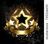 five shiny gold stars with...   Shutterstock .eps vector #735226654