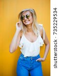summer  fashion and people... | Shutterstock . vector #735229534