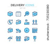 delivery icons. vector line... | Shutterstock .eps vector #735230380