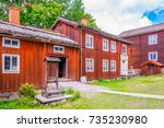 view of a farmhouse in the... | Shutterstock . vector #735230980