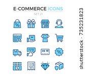 e commerce icons. vector line... | Shutterstock .eps vector #735231823