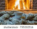 cup of tea and sugar   woolen... | Shutterstock . vector #735232516
