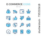 e commerce icons. vector line... | Shutterstock .eps vector #735232618
