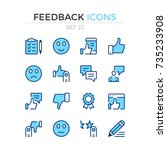feedback icons. vector line... | Shutterstock .eps vector #735233908