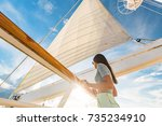 luxury cruise ship vacation... | Shutterstock . vector #735234910
