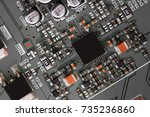 electronic circuit board close... | Shutterstock . vector #735236860