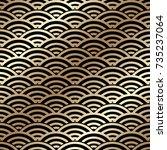 golden seamless pattern in art...   Shutterstock .eps vector #735237064