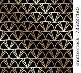 golden seamless pattern in art...   Shutterstock .eps vector #735237160