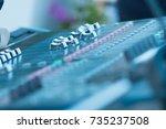 audio mixer control panel ... | Shutterstock . vector #735237508