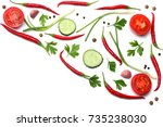 mix red hot chili peppers with... | Shutterstock . vector #735238030