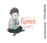 a boy eat ramen noodle with... | Shutterstock .eps vector #735238696