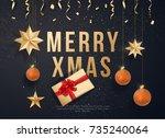 merry christmas on black...   Shutterstock .eps vector #735240064