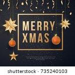 merry christmas on black...   Shutterstock .eps vector #735240103