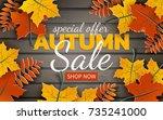 autumn sale banner  paper... | Shutterstock .eps vector #735241000