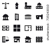 16 vector icon set   lighthouse ... | Shutterstock .eps vector #735243010