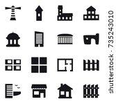 16 vector icon set   lighthouse ... | Shutterstock .eps vector #735243010