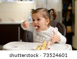 cute little girl eating | Shutterstock . vector #73524601