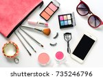 set of decorative cosmetics and ... | Shutterstock . vector #735246796