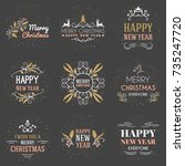set of merry christmas and... | Shutterstock .eps vector #735247720