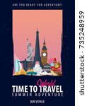 around the world. time to... | Shutterstock .eps vector #735248959