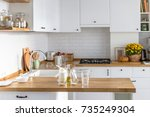 baking ingredients placed on... | Shutterstock . vector #735249304