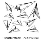 set of paper planes. hand drawn ... | Shutterstock .eps vector #735249853