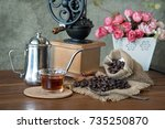 coffee in the morning. still... | Shutterstock . vector #735250870