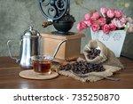 coffee in the morning. still... | Shutterstock . vector #735250870