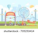 amusement park   modern flat... | Shutterstock .eps vector #735253414