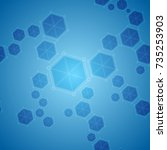 blue abstract hexagon molecules ... | Shutterstock .eps vector #735253903