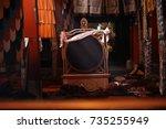 in a buddhist monastery in tibet   Shutterstock . vector #735255949