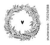 vector floral wreath background.... | Shutterstock .eps vector #735256588