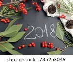 concept 2018. rustic 2018 on... | Shutterstock . vector #735258049