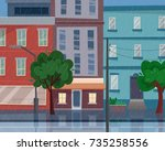 houses on street with road in...   Shutterstock .eps vector #735258556