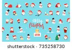 santa claus  collection... | Shutterstock .eps vector #735258730