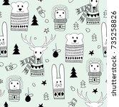 vector seamlee christmas... | Shutterstock .eps vector #735258826