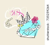 girl power slogan with diamond  ... | Shutterstock .eps vector #735259264