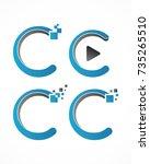 c letter media  digital logo...   Shutterstock . vector #735265510