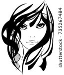 beautiful girl face isolated... | Shutterstock .eps vector #735267484