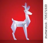 christmas reindeer paper... | Shutterstock .eps vector #735272320