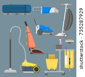 professional cleaning equipment ... | Shutterstock .eps vector #735287929