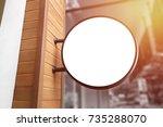 blank round white signboard on...   Shutterstock . vector #735288070