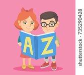 two caucasian kids of...   Shutterstock .eps vector #735290428