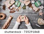 creative hobby. christmas... | Shutterstock . vector #735291868